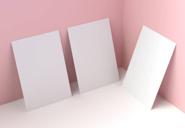 Three Pieces of Paper Mockup. 3d rendering. stock photo