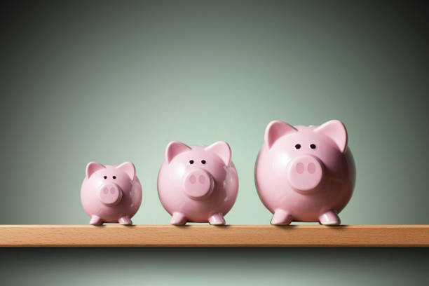 Three piggy banks on the shelf. 	Small, medium and large. Three piggy banks on the shelf. Small, medium and large. famiglia stock pictures, royalty-free photos & images