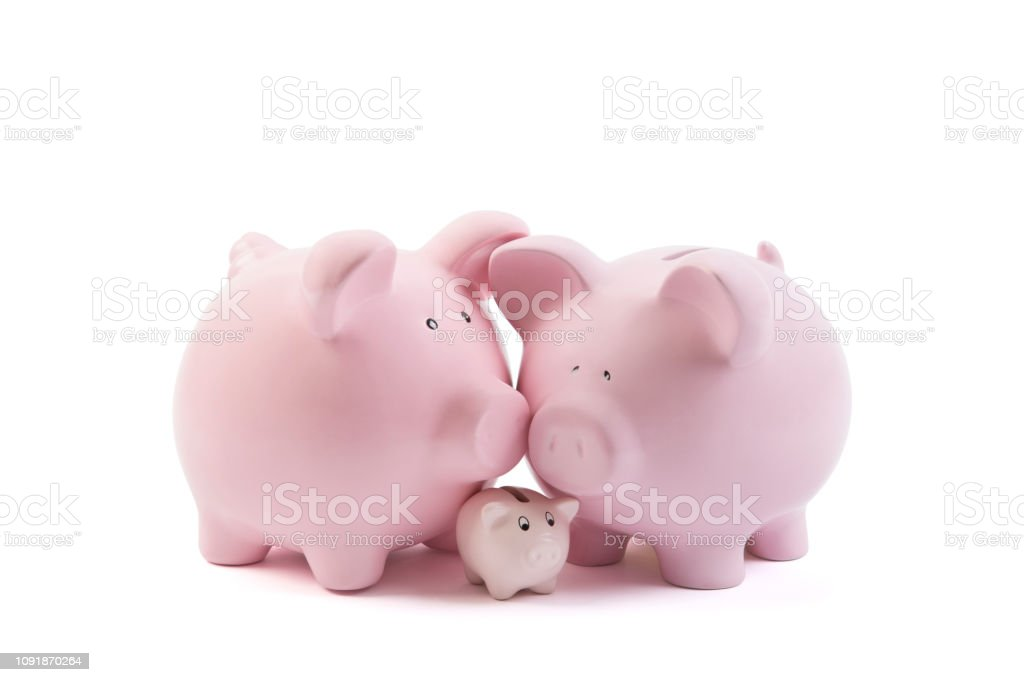 Three piggy banks on white background with clipping path stock photo