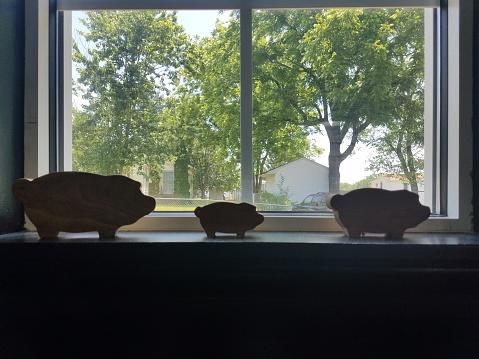 Drei Schweine Im Fenster Stockfoto und mehr Bilder von Baum