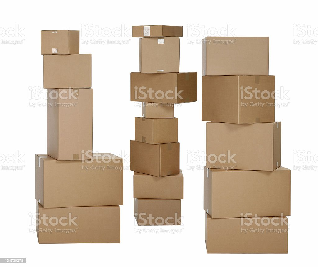 three piles of carboard boxes - clipping path royalty-free stock photo