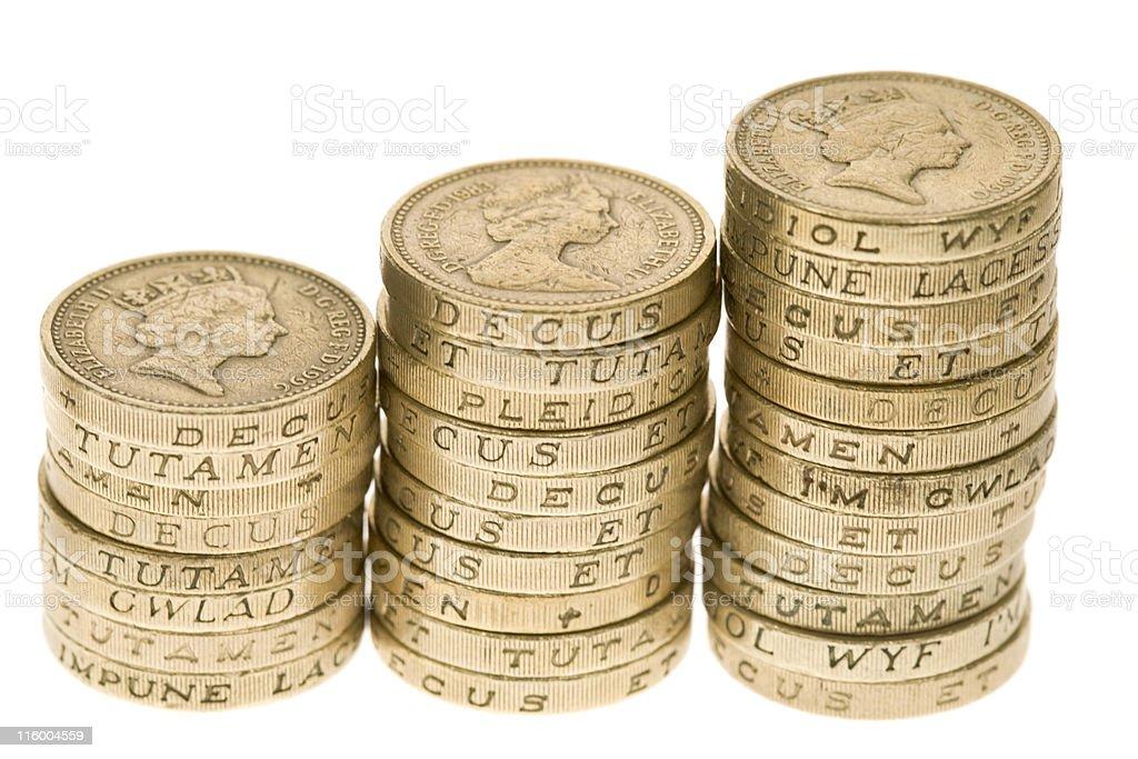 Three Piles Of Pounds royalty-free stock photo