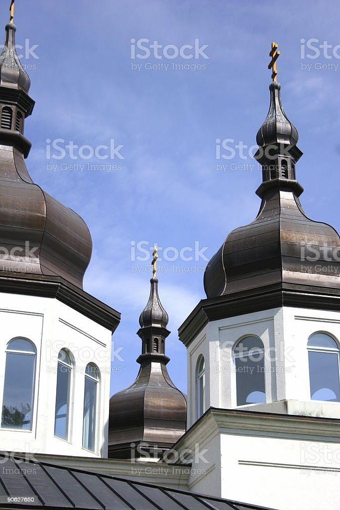 Three Pinacles of Saint Katherine Ukrainian Orthodox Church. royalty-free stock photo