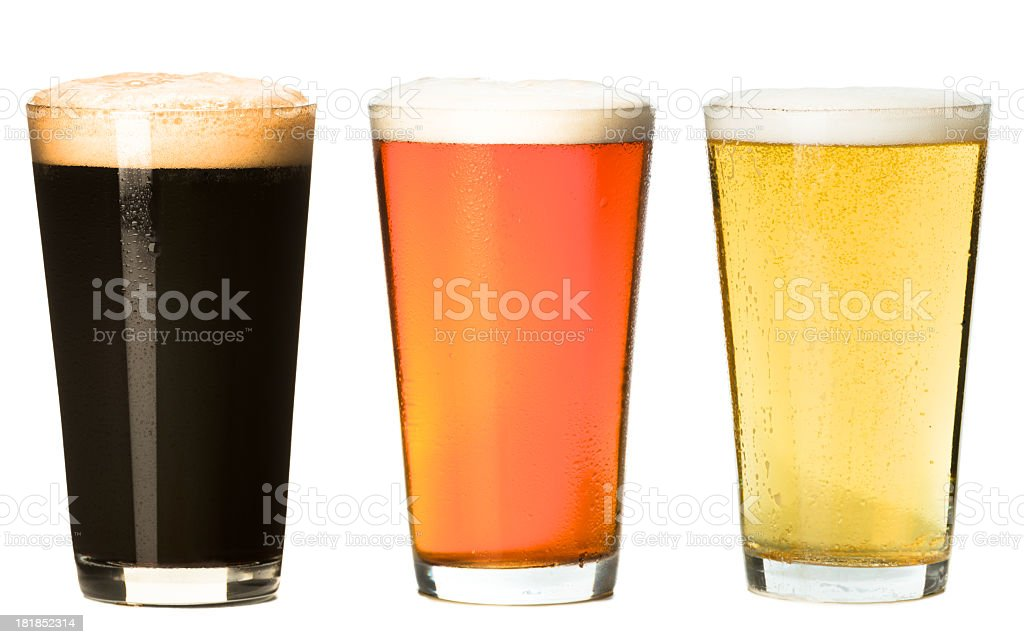 Three Pint Beer Glasses Isolated on White Background royalty-free stock photo
