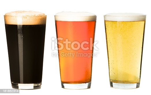 Three Pint Beer Glasses Isolated on White Background