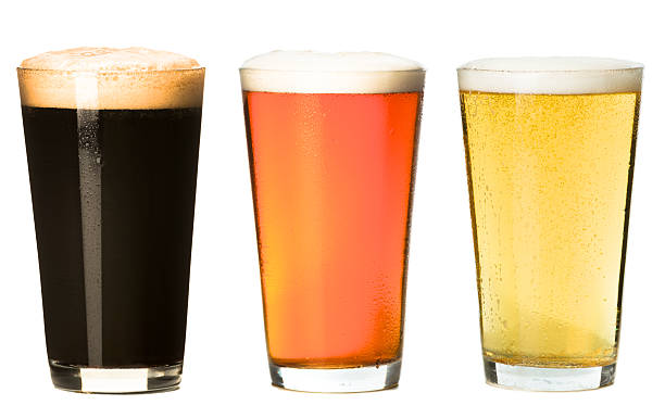 Three Pint Beer Glasses Isolated on White Background stock photo