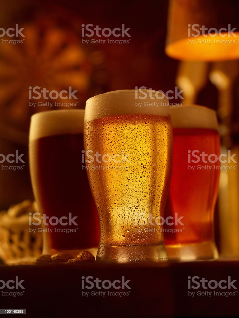 Three Pints of Beer royalty-free stock photo