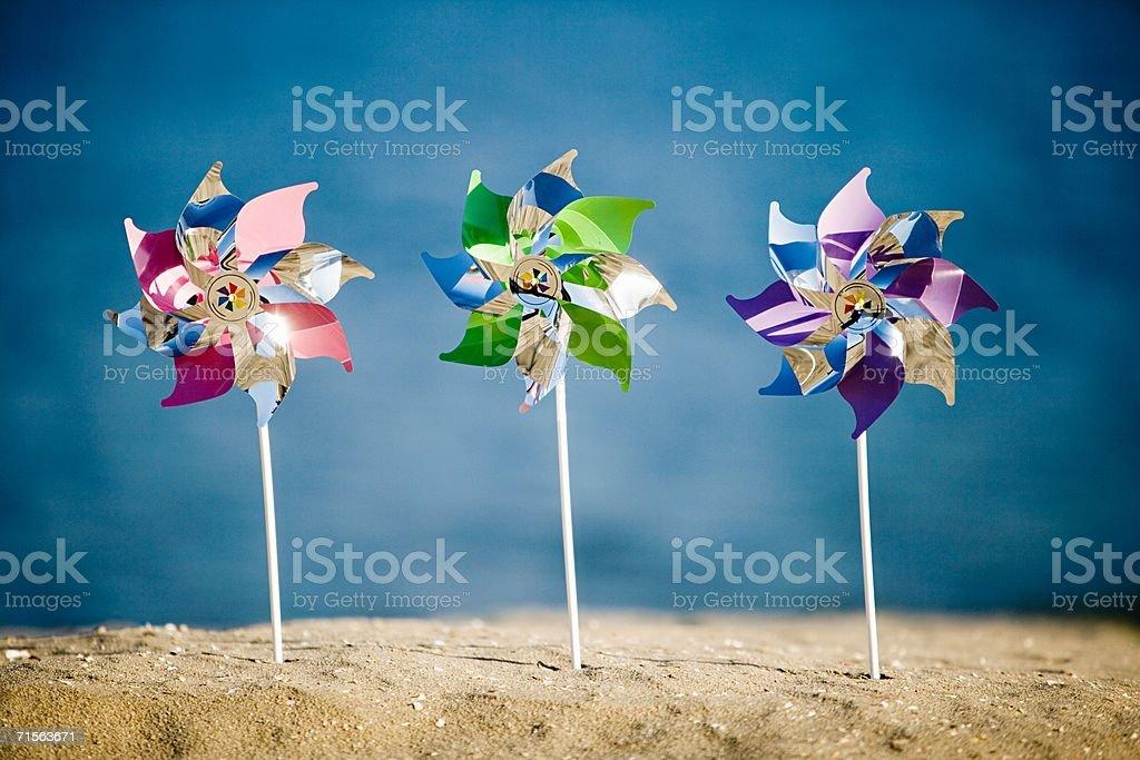 Three pinwheels royalty-free stock photo