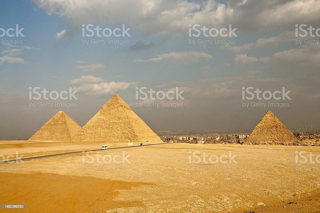 Three piramids in Giza royalty-free stock photo