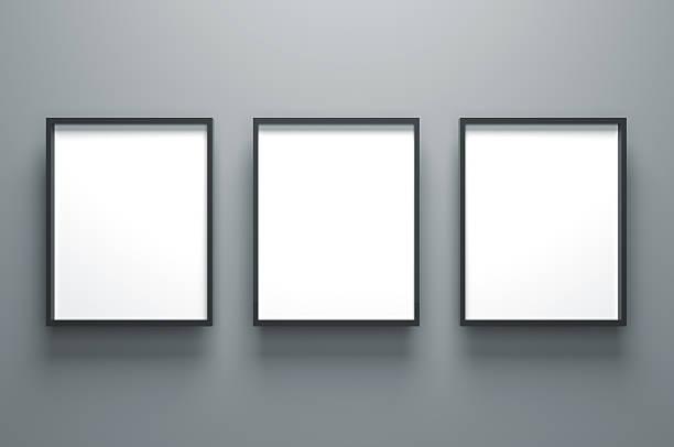 drei leere bilderrahmen einfach - bilder poster stock-fotos und bilder