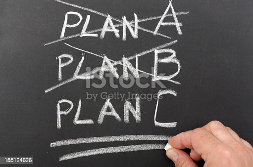 istock Three plans written on a chalkboard with two crossed out 185124626