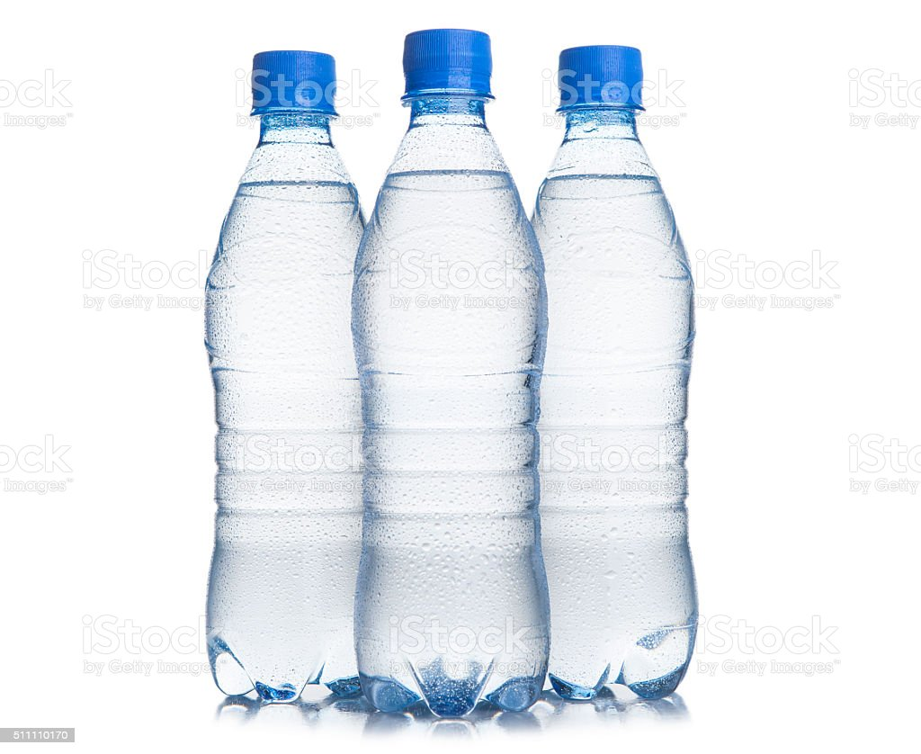 Three plastic bottle of drinking water stock photo