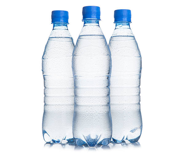 Three plastic bottle of drinking water stock photo