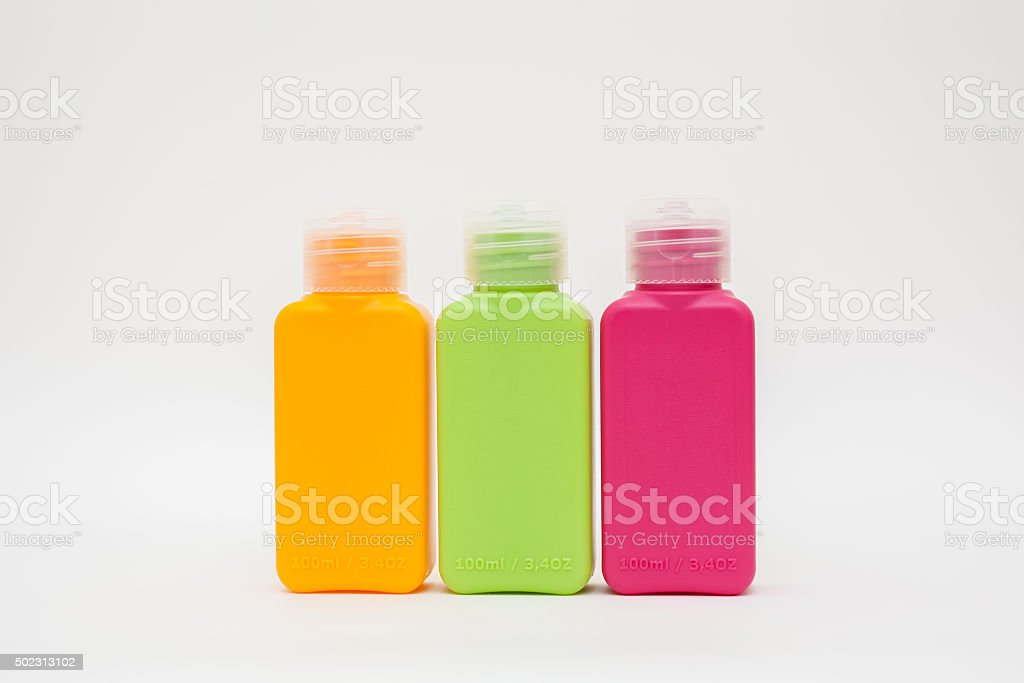 Three Plastic bottles of household chemicals stock photo