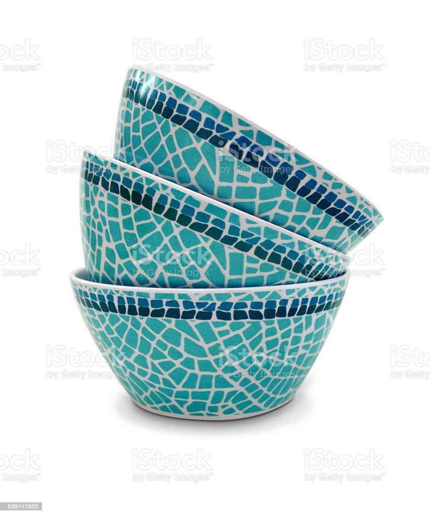 Three plastic bowl stock photo