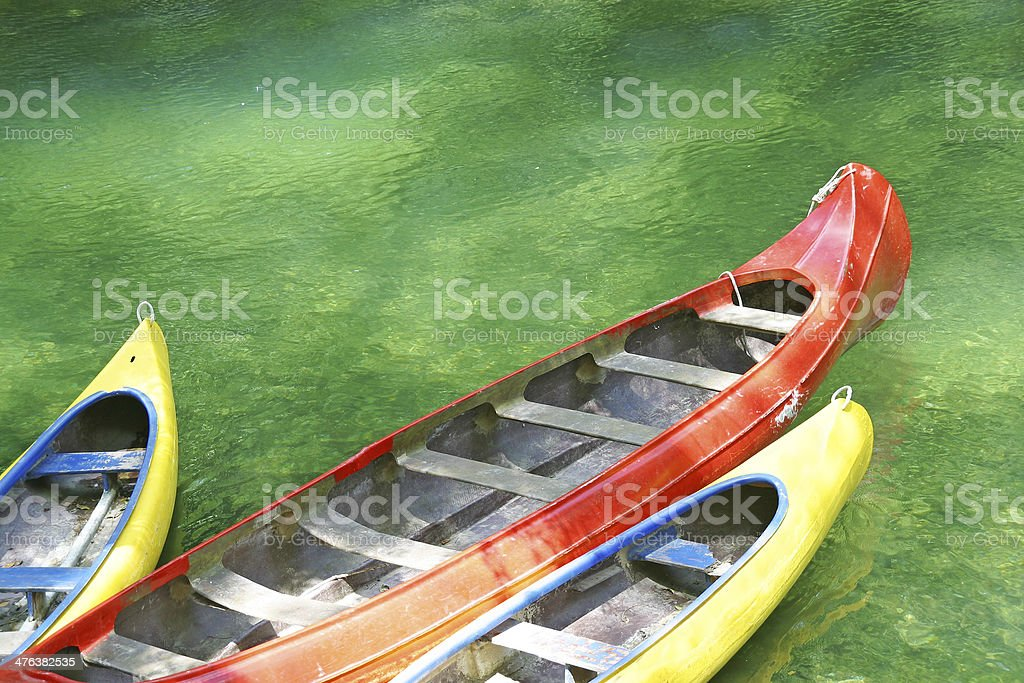 Three plastic canoe royalty-free stock photo
