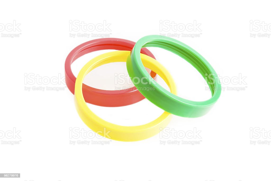 three plastic rings on the white royalty-free stock photo
