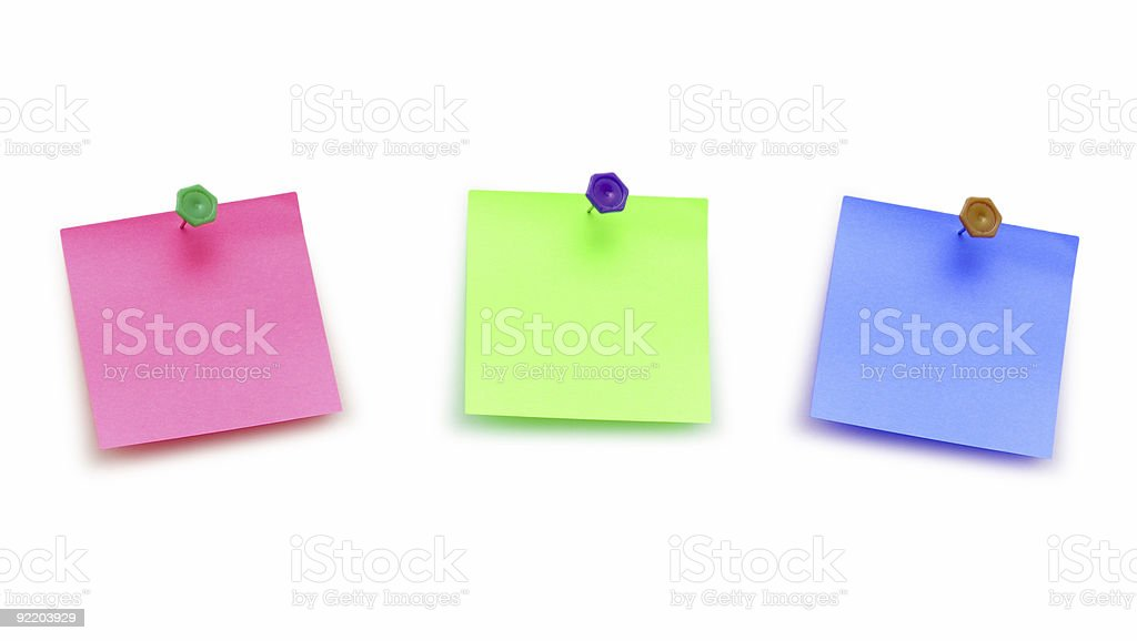 Three post it notes isolated on white royalty-free stock photo