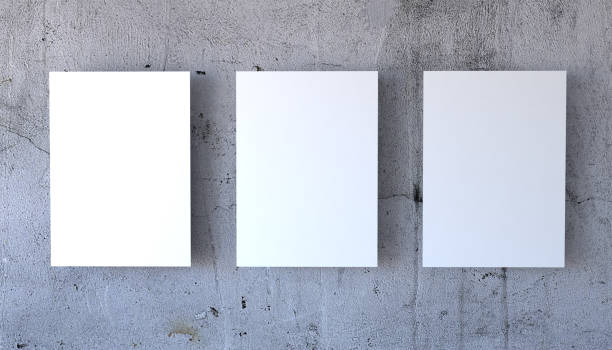 three poster mock-up - three objects stock pictures, royalty-free photos & images