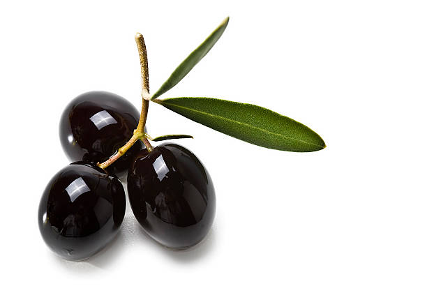 Three premium black olives on a branch​​​ foto
