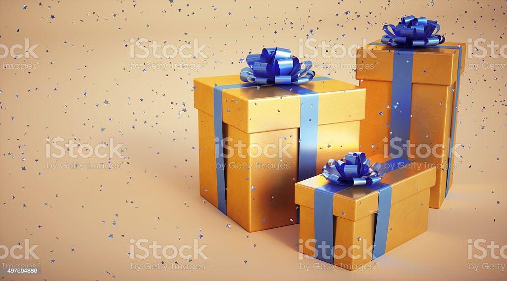Three presents with confetti stars stock photo