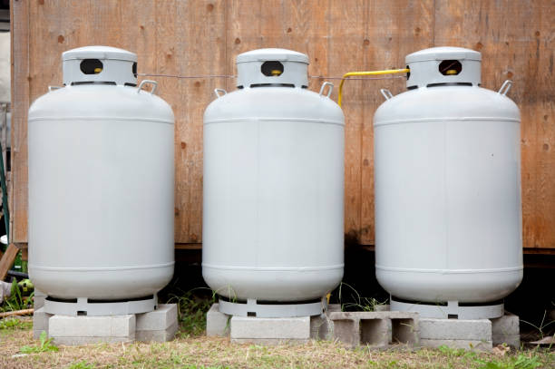 Three Propane Tanks stock photo