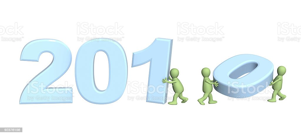 Three puppets making number 2010 royalty-free stock photo