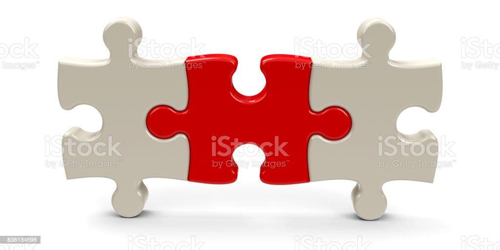 Three puzzle pieces #3 stock photo