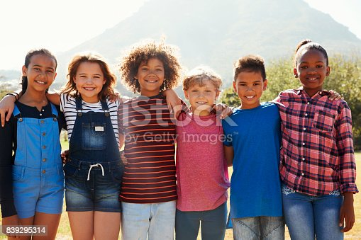 istock Three quarter length portrait of pre-teen friends in a park 839295314