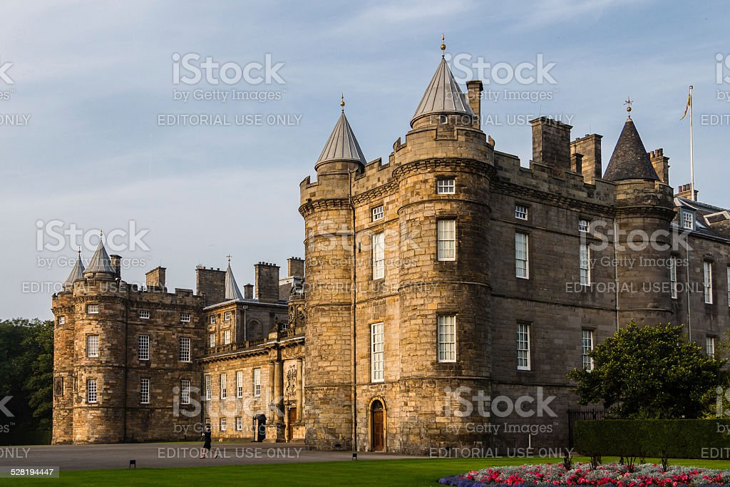 Three quarter view of the Palace of Holyroodhouse in Edinburgh, stock photo