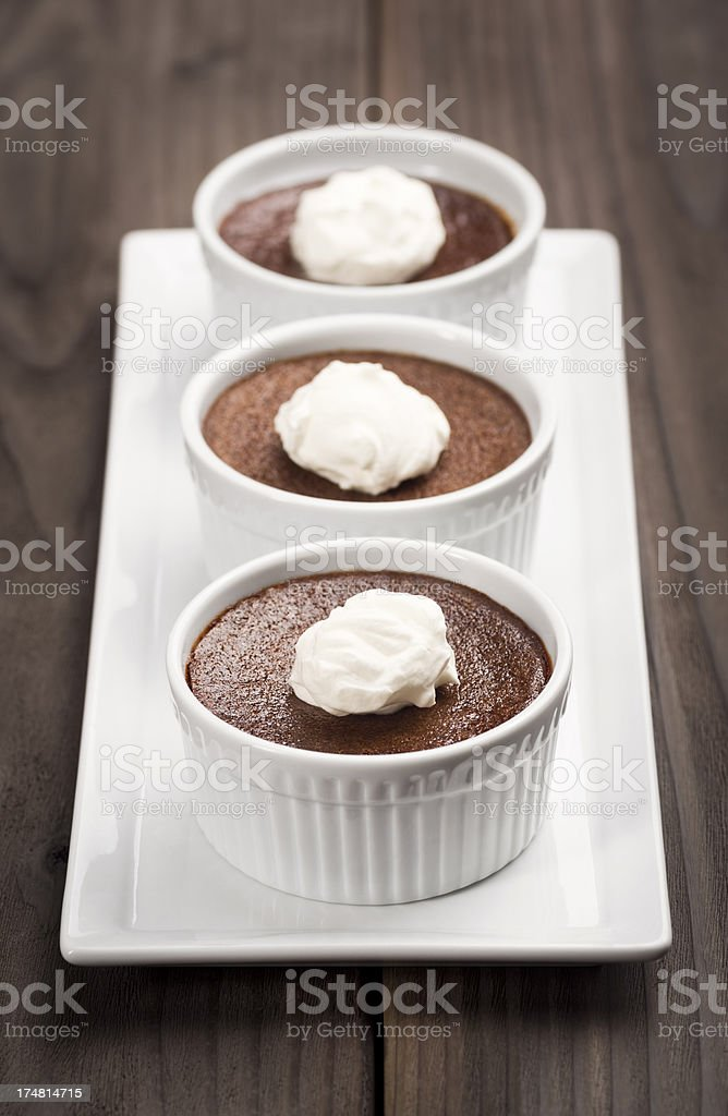 Three Ramekins of Chocolate Pot de Creme royalty-free stock photo