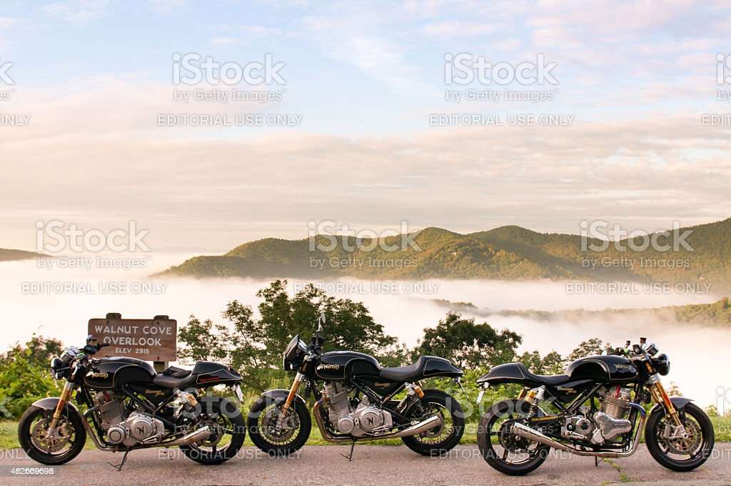 Three Rare Norton Motorcycles stock photo
