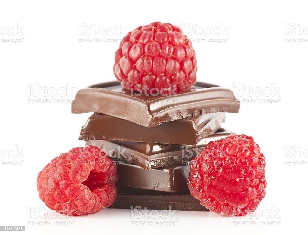 Drei Himbeeren und Schokolade – Foto
