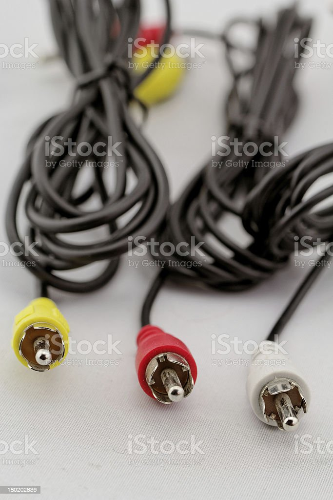 three rca cable and plug royalty-free stock photo