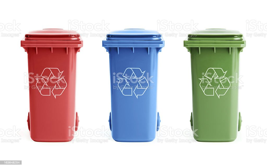 Three recycle bins stock photo