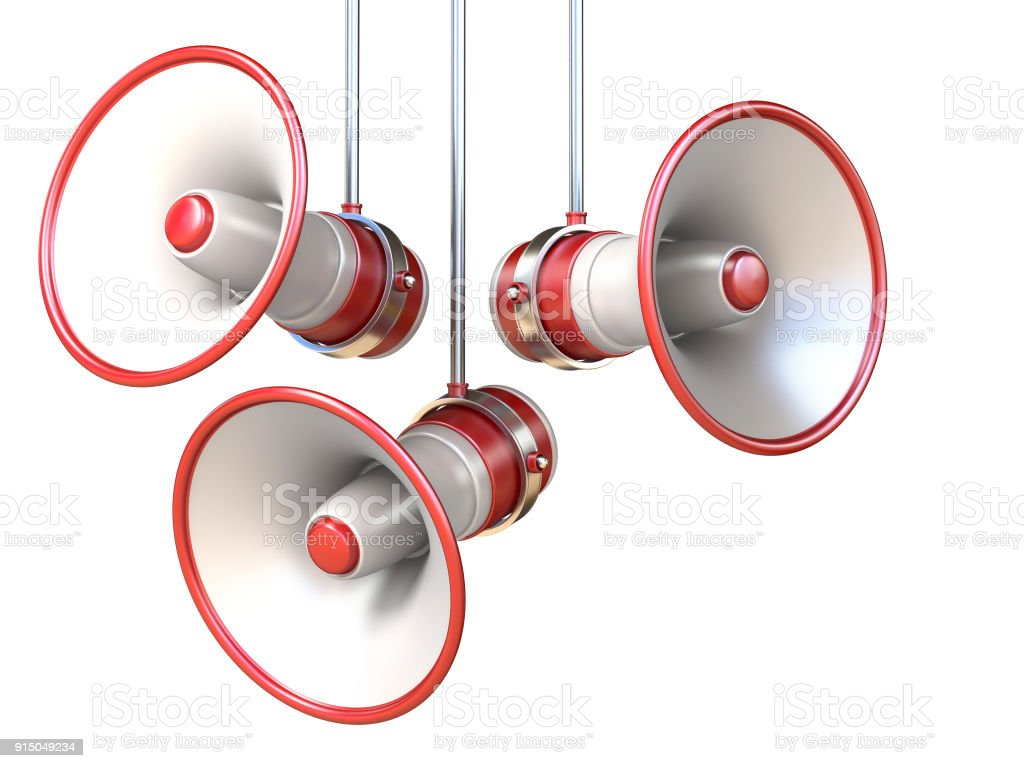 Three red and white megaphones 3D stock photo