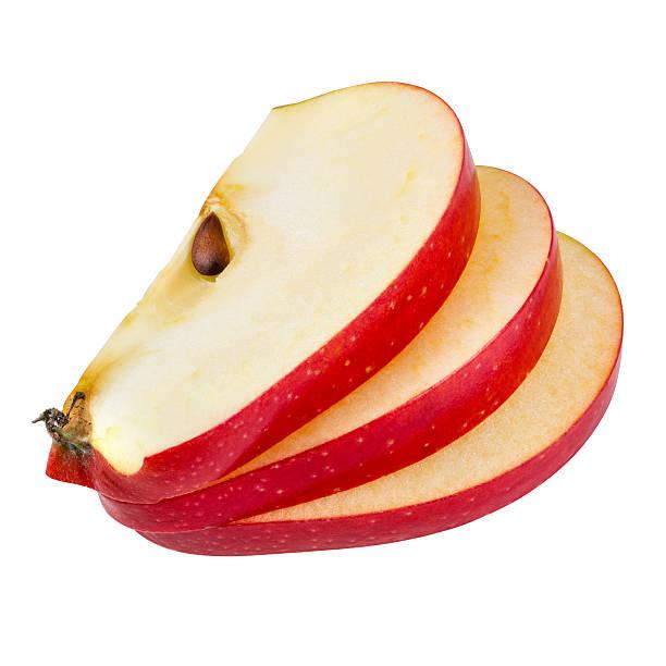 アップルのスライスを白で分離。 クリッピングパス付き ストックフォト