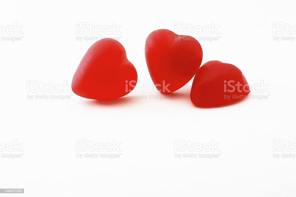 Three red candy hearts royalty-free stock photo