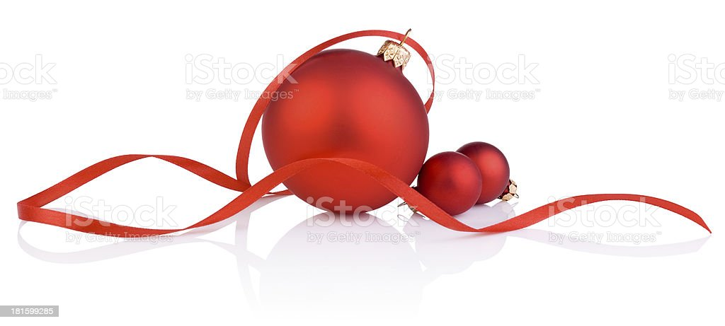 Three red christmas ball and tape Isolated on white background stock photo