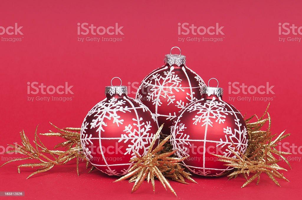 Three red Christmas balls royalty-free stock photo