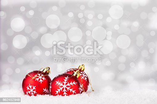 istock Three red christmas balls 862452948