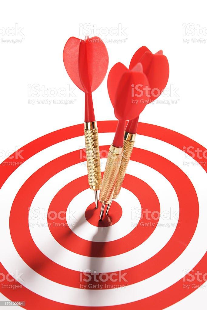 Three Red Darts on Target Vt royalty-free stock photo