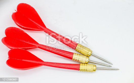 919544754 istock photo Three Red darts pointing in the same direction. 1212580931