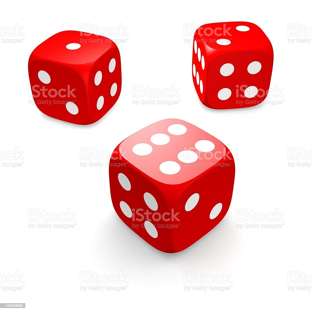 Three red dices royalty-free stock photo