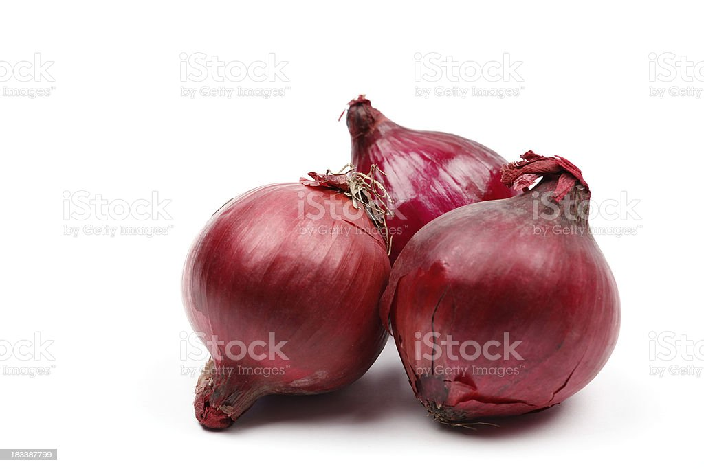 Three red onions royalty-free stock photo