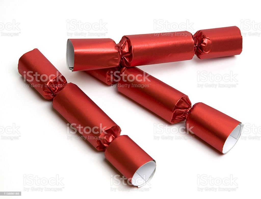Three red party crackers stock photo