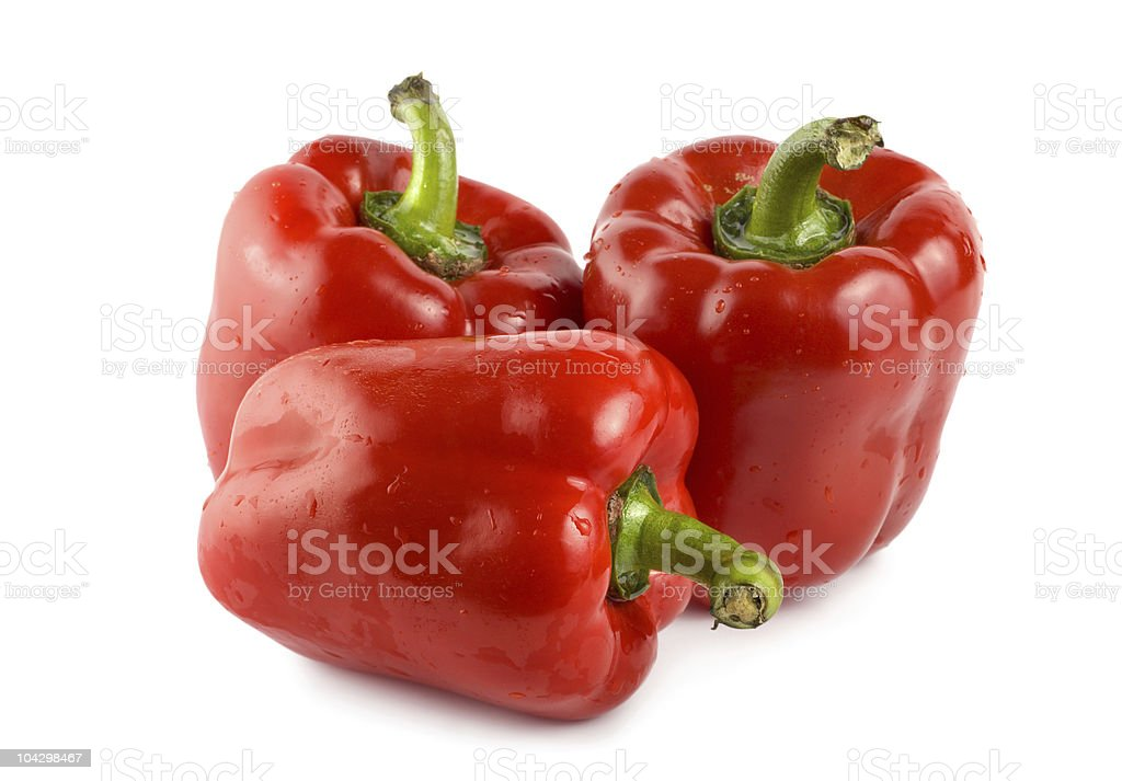 Three red peppers stock photo