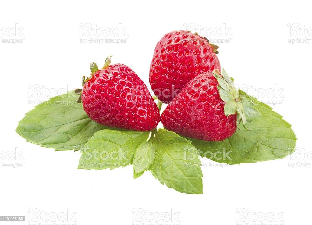 three red strawberry stock photo