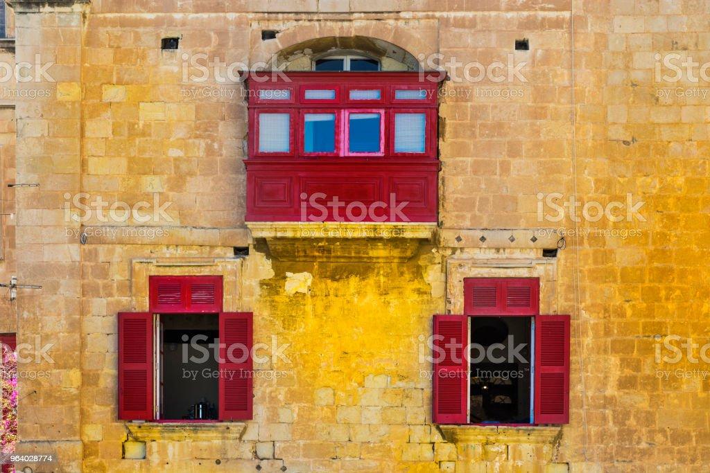 Three red windows on Malta - Royalty-free Abandoned Stock Photo