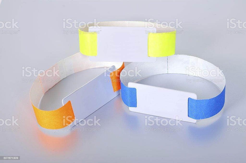 three rfid id bracelet stock photo